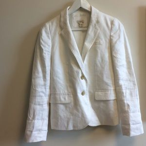 J crew white linen blazer size 0